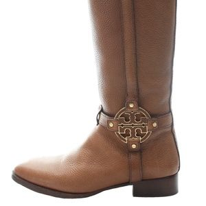 TORY BURCH LEATHER SIGNATURE BOOTS SIZE 10.5